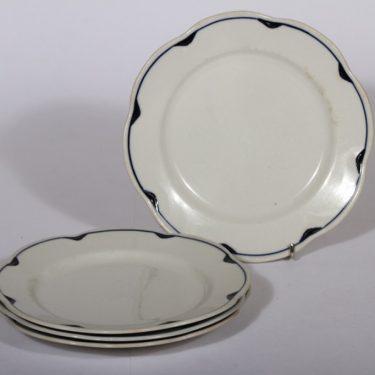 Arabia Pekka lautaset, sininen, 4 kpl, suunnittelija , pieni, viivakoriste