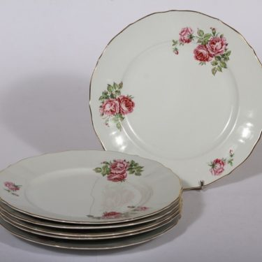 Arabia kukkakuvio dinner plates, 6 pcs, silk screening, rose theme