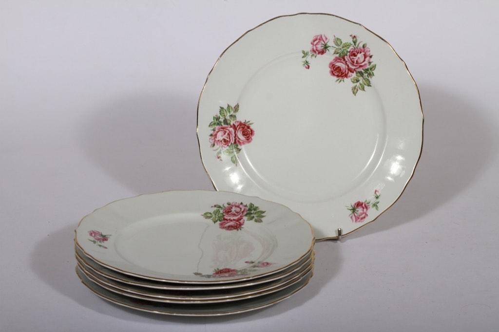 Arabia kukkakuvio lautaset, matala, 6 kpl, suunnittelija , matala, siirtokuva, ruusuaihe