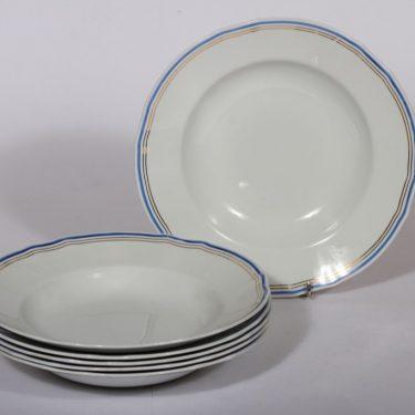 Arabia Lotta lautaset, syvä, 6 kpl, suunnittelija , syvä, viivakoriste