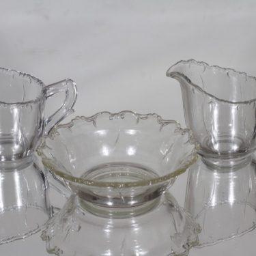 Riihimäen lasi Ludvig sokerikko ja kermakot, kirkas, 2 kpl, suunnittelija ,