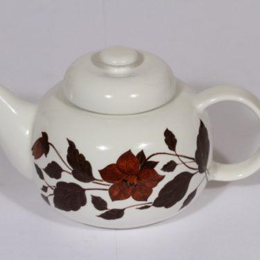 Arabia Tea for Two teekaadin, ruskea, suunnittelija , serikuva, kukka-aihe