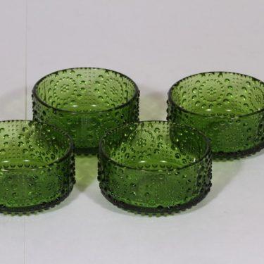 Riihimäen lasi Grapponia jälkiruokakulhot, vihreä, 4 kpl, suunnittelija Nanny Still, pieni