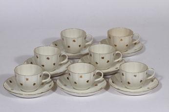 Arabia Hippu kahvikupit, 7 kpl, suunnittelija , painokoriste, kullattu