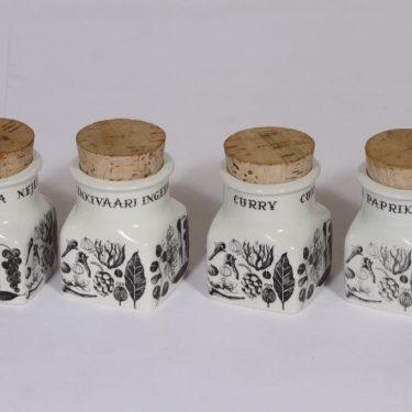 Arabia Maustekuva maustepurkit, mustavalkoinen, 4 kpl, suunnittelija , serikuva
