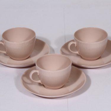 Arabia Sointu kahvikupit, vaalean punainen, 3 kpl, suunnittelija Kaj Franck,
