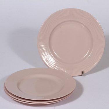 Arabia Sointu leivoslautaset, vaalean punainen, 4 kpl, suunnittelija Kaj Franck,