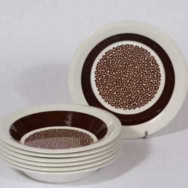 Arabia Faenza lautaset, syvä, 7 kpl, suunnittelija Inkeri Seppälä, syvä, serikuva