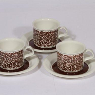 Arabia Faenza kahvikupit, ruskea, 3 kpl, suunnittelija Inkeri Seppälä, serikuva