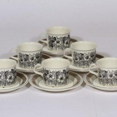 Arabia Krokus kahvikupit, mustavalkoinen, 6 kpl, suunnittelija Esteri Tomula, serikuva, kukka-aihe
