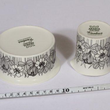 Arabia Krokus sokerikko ja kermakko, mustavalkoinen, suunnittelija Esteri Tomula, serikuva, kukka-aihe kuva 2