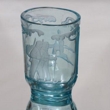 Riihimäen lasi Partio-malja maljakko, turkoosi, suunnittelija ,