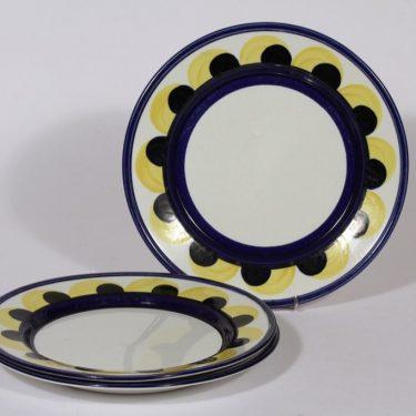 Arabia Paju lautaset, matala, 3 kpl, suunnittelija , matala, käsinmaalattu, signeerattu, retro