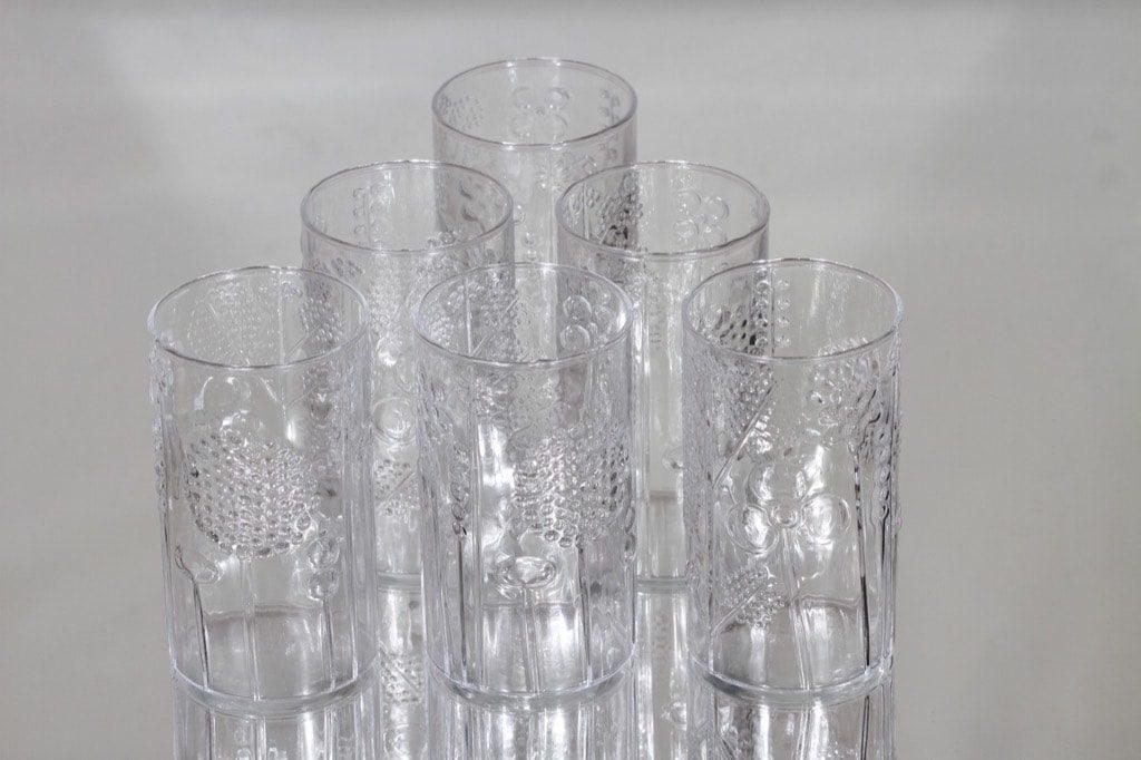 Nuutajärvi Flora lasit, kirkas, 6 kpl, suunnittelija Oiva Toikka,