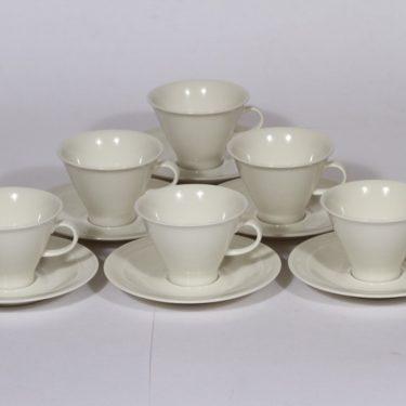 Arabia Harlekin kahvikupit, valkoinen, 6 kpl, suunnittelija ,