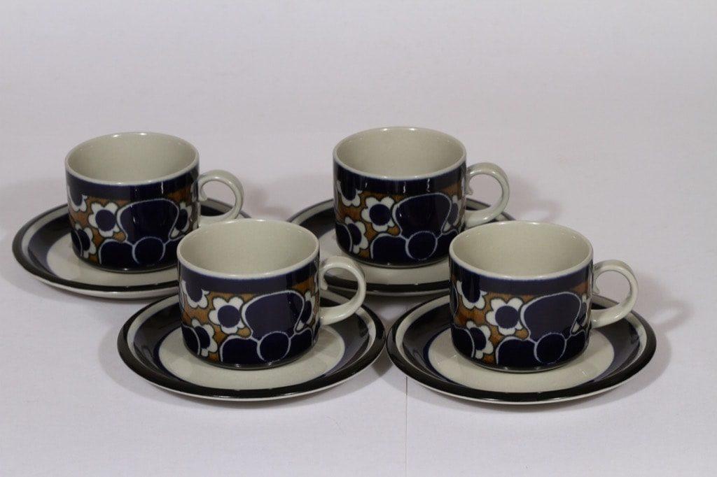 Arabia Saara teekupit, 25 cl, 4 kpl, suunnittelija , 25 cl, erikoiskoriste, retro