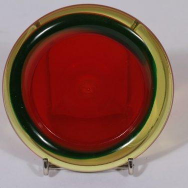 Riihimäen lasi taide-esine, punainen, suunnittelija Nanny Still, pieni, signeerattu