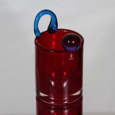 Nuutajärvi Frutta taide-esine, punainen, suunnittelija Oiva Toikka, signeerattu