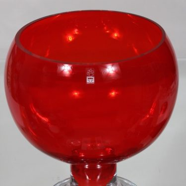 Riihimäen lasi Old King Cole punch bowl, red, designer Erkkitapio Siiroinen, big