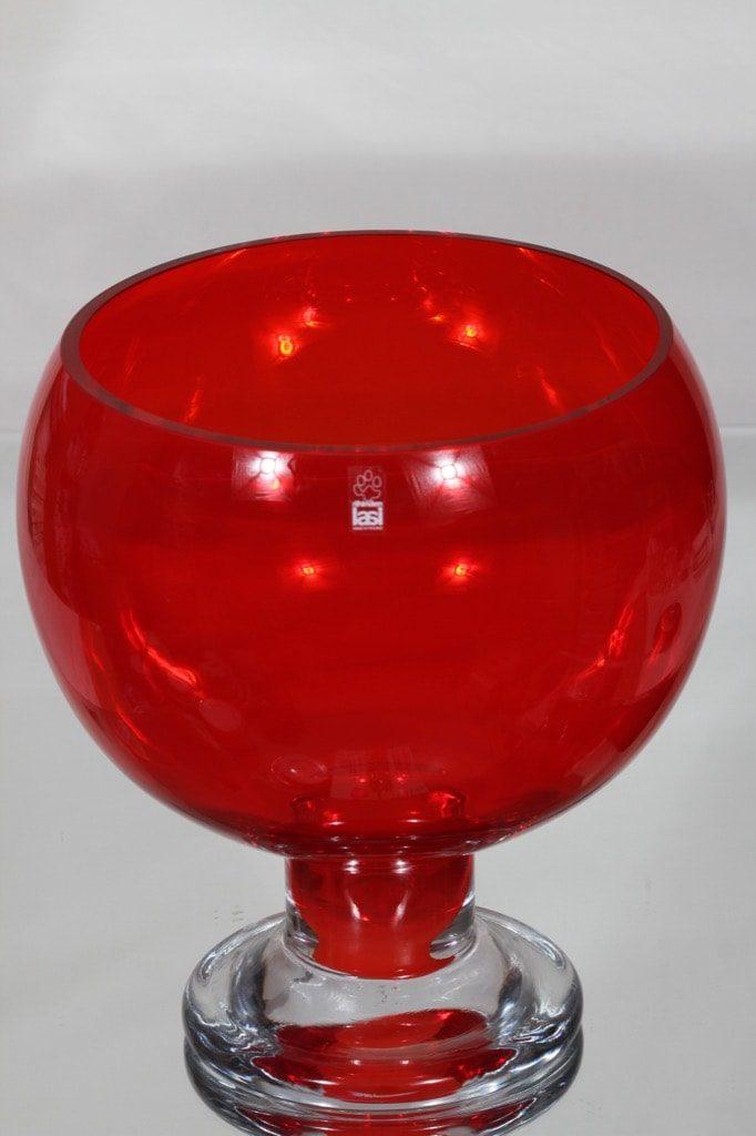 Riihimäen lasi Old King Cole boolimalja, punainen, suunnittelija Erkkitapio Siiroinen, suuri