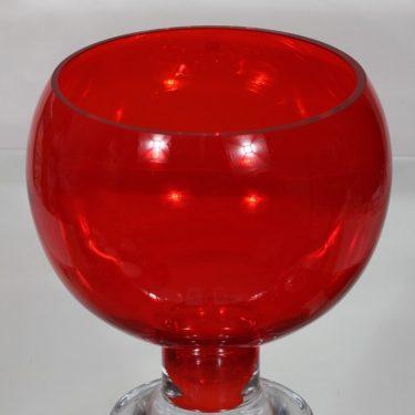 Riihimäen lasi Old King Cole boolimalja, punainen, suunnittelija Erkkitapio Siiroinen, suuri kuva 2