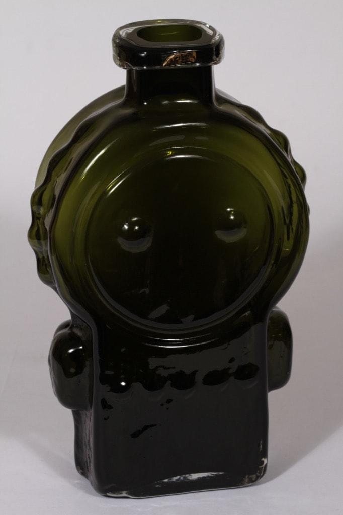 Riihimäen lasi Ahkeraliisa maljakko, oliivinvihreä, suunnittelija Helena Tynell, suuri