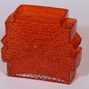 Riihimäen lasi Stellaria maljakko, oranssi, suunnittelija Nanny Still, retro
