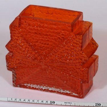 Riihimäen lasi Stellaria maljakko, oranssi, suunnittelija Nanny Still, retro kuva 2
