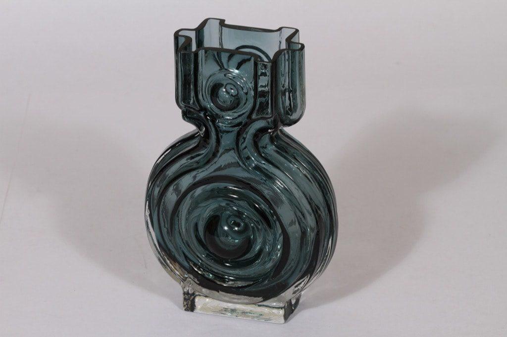 Riihimäen lasi Aitanlukko maljakko, siniharmaa, suunnittelija Helena Tynell,