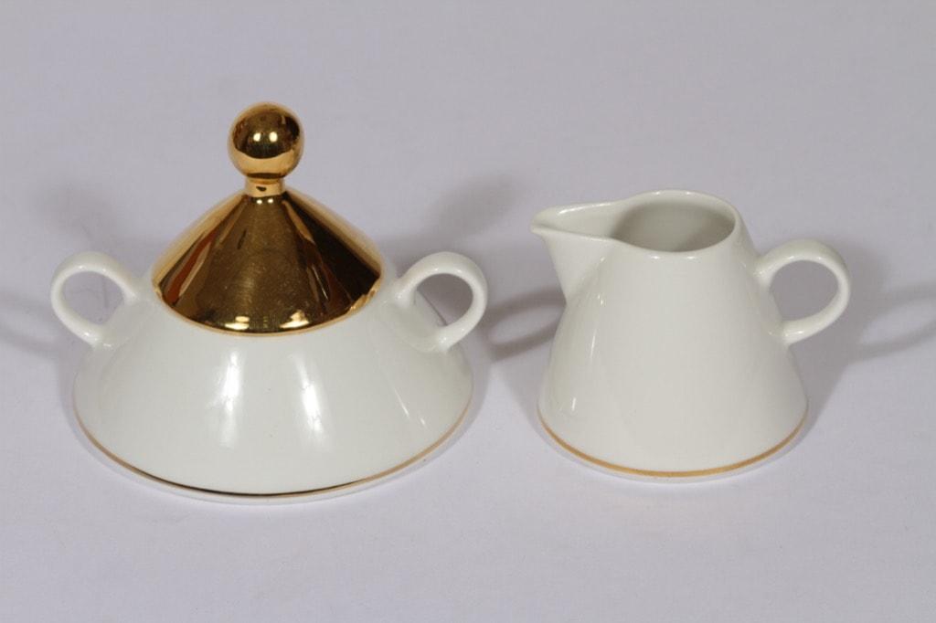 Arabia Harlekin Gold sokerikko ja kermakko, kullattu, suunnittelija Inkeri Leivo,