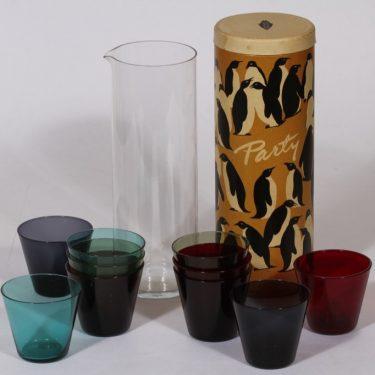 Nuutajärvi Kartio kaadin, 1 l, 10 kpl, suunnittelija Kaj Franck, 1 l, lasit eri värejä