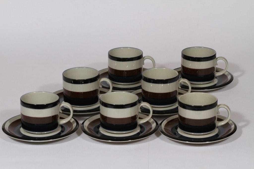 Arabia Kaira teekupit, 20 cl, 7 kpl, suunnittelija , 20 cl, käsinmaalattu, raitakoriste