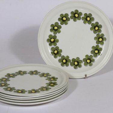 Arabia Primavera lautaset, matala, 6 kpl, suunnittelija , matala, serikuva, retro