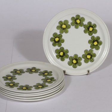 Arabia Primavera lautaset, 6 kpl, suunnittelija , pieni, serikuva, retro