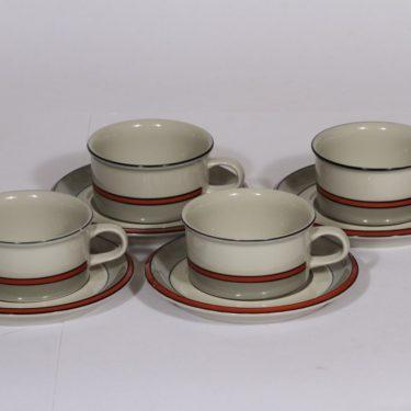 Arabia Aslak teekupit, oranssi, 4 kpl, suunnittelija Inkeri Leivo, raitakoriste