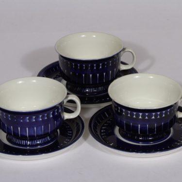 Arabia Valencia teekupit, sininen, 3 kpl, suunnittelija Ulla Procope, käsinmaalattu, signeerattu