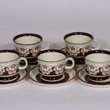 Arabia Katrilli kahvikupit, ruskea, 5 kpl, suunnittelija Esteri Tomula, serikuva