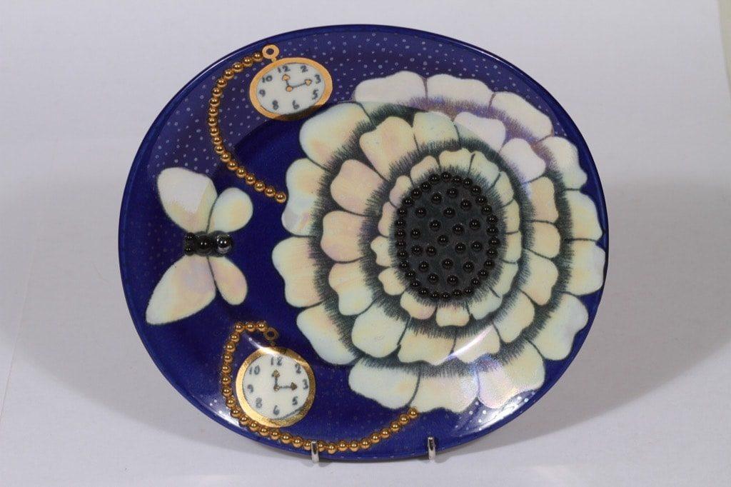 Arabia Florence vati, sininen, suunnittelija Birger Kaipiainen, pieni, soikea, serikuva