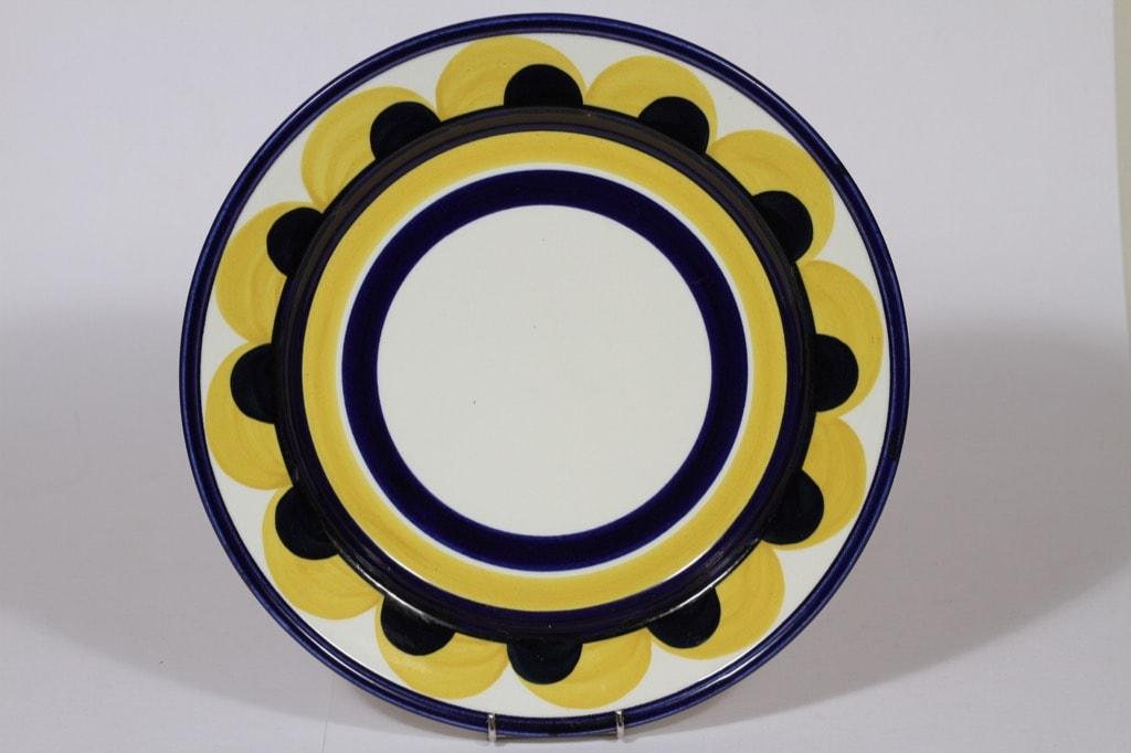 Arabia Paju vati, sininen-keltainen, suunnittelija Anja Jaatinen-Winquist, suuri, käsinmaalattu, retro