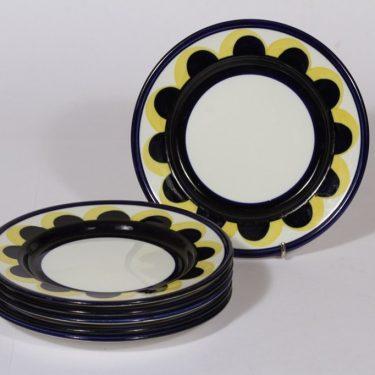 Arabia Paju lautaset, sininen-keltainen, 6 kpl, suunnittelija Anja Jaatinen-Winquist, pieni, käsinmaalattu, retro