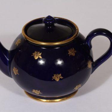 Arabia teekaadin, sininen lasite, suunnittelija , painokoriste