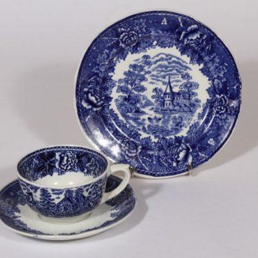 Arabia Maisema kahvikuppi ja lautanen, sininen, suunnittelija , kuparipainokoriste