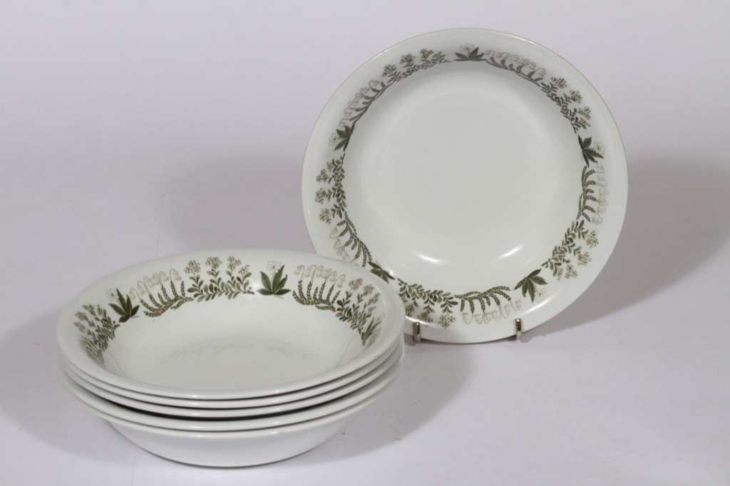 Arabia Polaris lautaset, syvä, 6 kpl, suunnittelija Raija Uosikkinen, syvä, serikuva