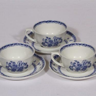 Arabia Suomen kukka teekupit, sininen, 3 kpl, suunnittelija , kuparipainokoriste