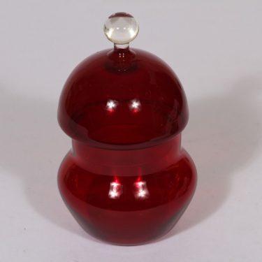 Riihimäen lasi Pomona rasia, rubiininpunainen, suunnittelija Helena Tynell,
