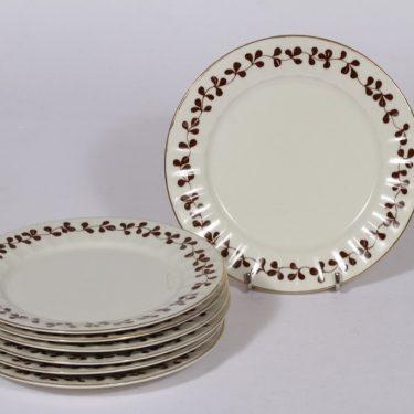 Arabia Vanamo lautaset, ruskea, 7 kpl, suunnittelija Esteri Tomula, pieni, serikuva, lehtiaihe