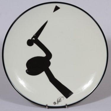 Arabia Piper seinälautanen, musta, suunnittelija Howard Smith, suuri, serikuva, signeerattu