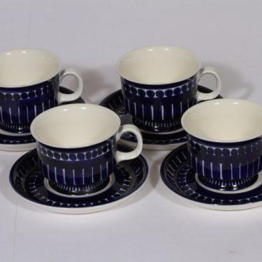 Arabia Valencia kahvikupit, sininen, 4 kpl, suunnittelija Ulla Procope, käsinmaalattu, signeerattu