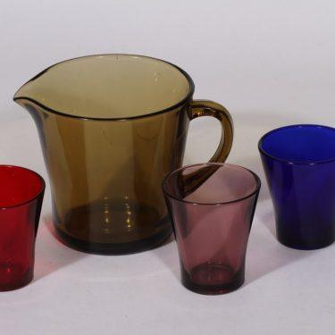 Riihimäen lasi kaadin ja lasit 3 kpl, 1 l, 3 kpl, suunnittelija , 1 l