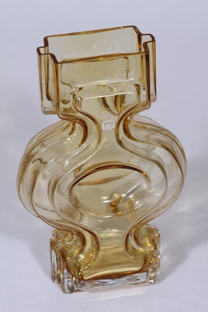 Riihimäen lasi Emma maljakko, amber, suunnittelija Helena Tynell,